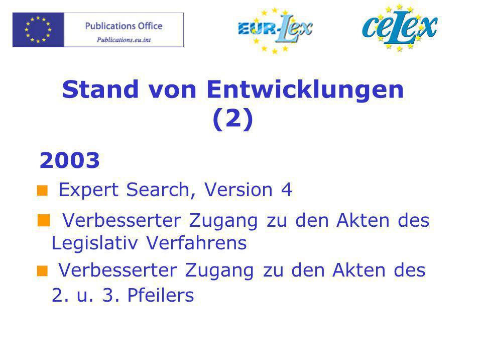 Stand von Entwicklungen (2) 2003  Expert Search, Version 4  Verbesserter Zugang zu den Akten des Legislativ Verfahrens  Verbesserter Zugang zu den
