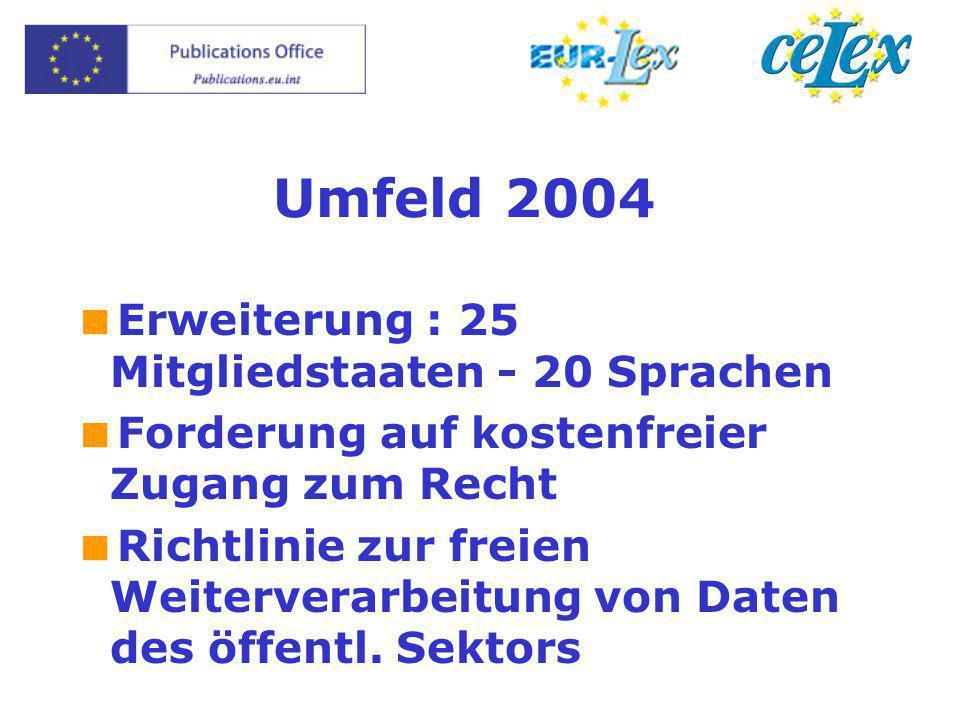 Umfeld 2004  Erweiterung : 25 Mitgliedstaaten - 20 Sprachen  Forderung auf kostenfreier Zugang zum Recht  Richtlinie zur freien Weiterverarbeitung