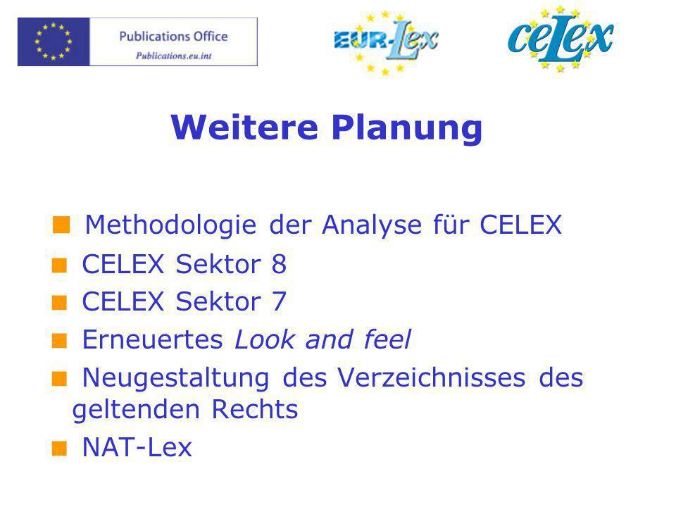 Weitere Planung  Methodologie der Analyse für CELEX  CELEX Sektor 8  CELEX Sektor 7  Erneuertes Look and feel  Neugestaltung des Verzeichnisses d