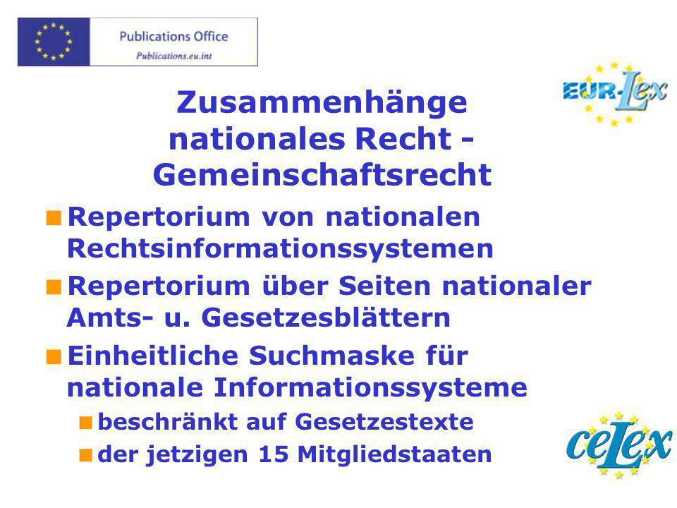 Zusammenhänge nationales Recht - Gemeinschaftsrecht  Repertorium von nationalen Rechtsinformationssystemen  Repertorium über Seiten nationaler Amts-