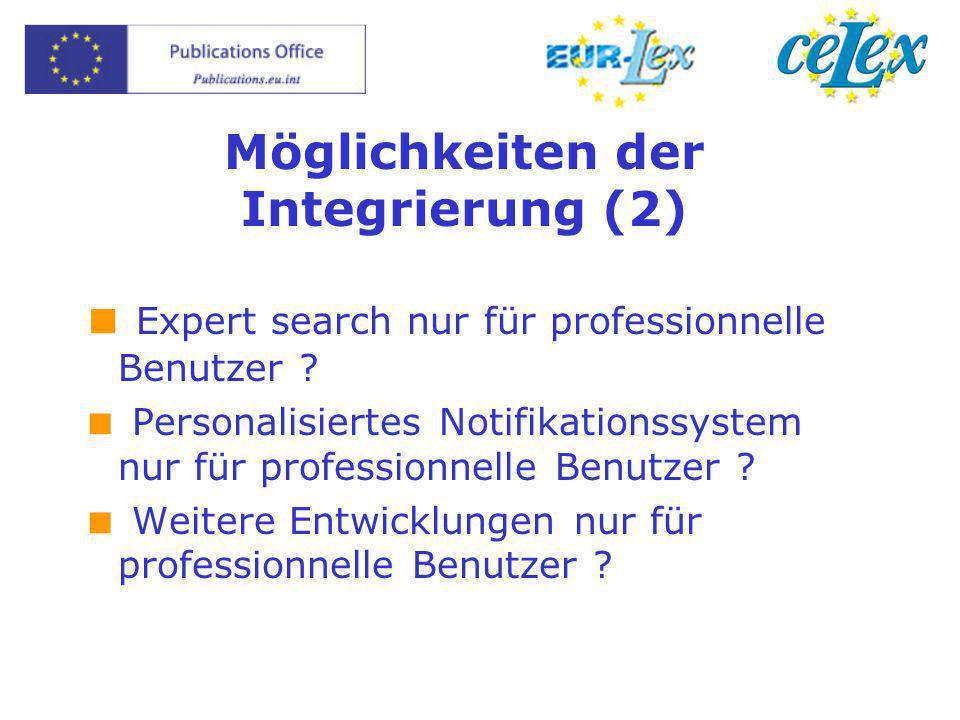 Möglichkeiten der Integrierung (2)  Expert search nur für professionnelle Benutzer ?  Personalisiertes Notifikationssystem nur für professionnelle B