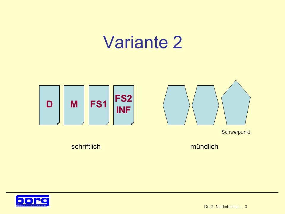 Dr. G. Niederbichler - 3 Variante 2 DMFS1 mündlichschriftlich Schwerpunkt FS2 INF