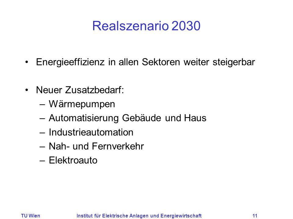TU WienInstitut für Elektrische Anlagen und Energiewirtschaft11 Realszenario 2030 Energieeffizienz in allen Sektoren weiter steigerbar Neuer Zusatzbed