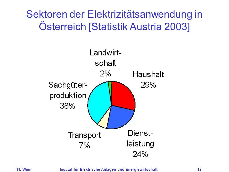 TU WienInstitut für Elektrische Anlagen und Energiewirtschaft12 Sektoren der Elektrizitätsanwendung in Österreich [Statistik Austria 2003]