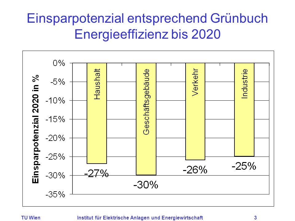 TU WienInstitut für Elektrische Anlagen und Energiewirtschaft3 Einsparpotenzial entsprechend Grünbuch Energieeffizienz bis 2020