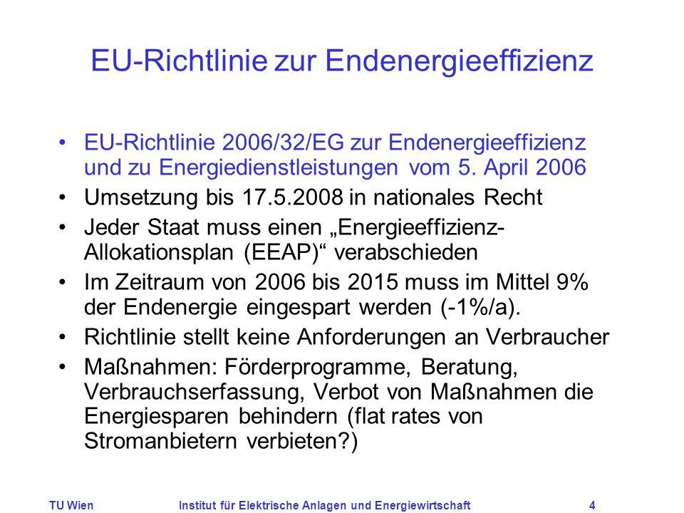 TU WienInstitut für Elektrische Anlagen und Energiewirtschaft4 EU-Richtlinie zur Endenergieeffizienz EU-Richtlinie 2006/32/EG zur Endenergieeffizienz und zu Energiedienstleistungen vom 5.