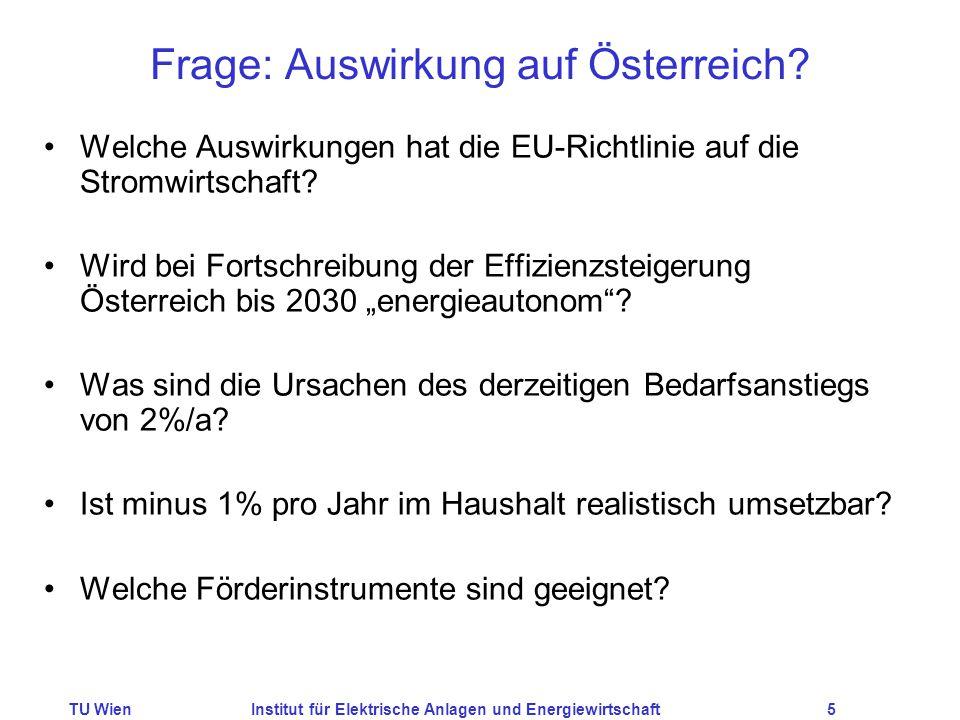 TU WienInstitut für Elektrische Anlagen und Energiewirtschaft5 Frage: Auswirkung auf Österreich? Welche Auswirkungen hat die EU-Richtlinie auf die Str