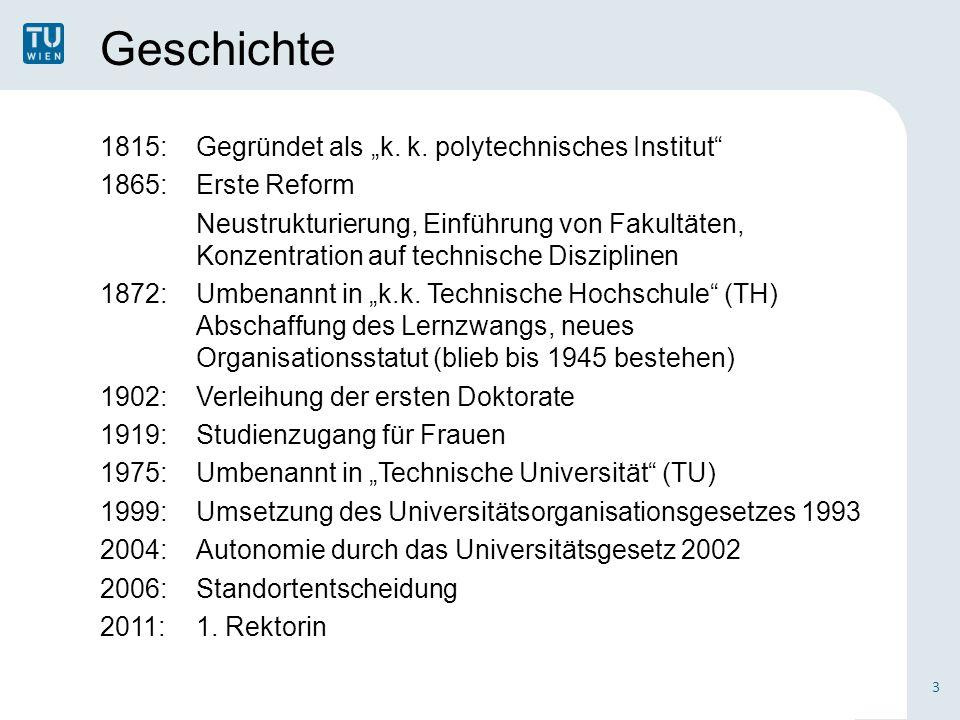 """Geschichte 1815:Gegründet als """"k. k. polytechnisches Institut"""" 1865:Erste Reform Neustrukturierung, Einführung von Fakultäten, Konzentration auf techn"""