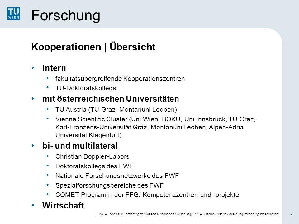 Forschung Kooperationen | Übersicht intern fakultätsübergreifende Kooperationszentren TU-Doktoratskollegs mit österreichischen Universitäten TU Austri
