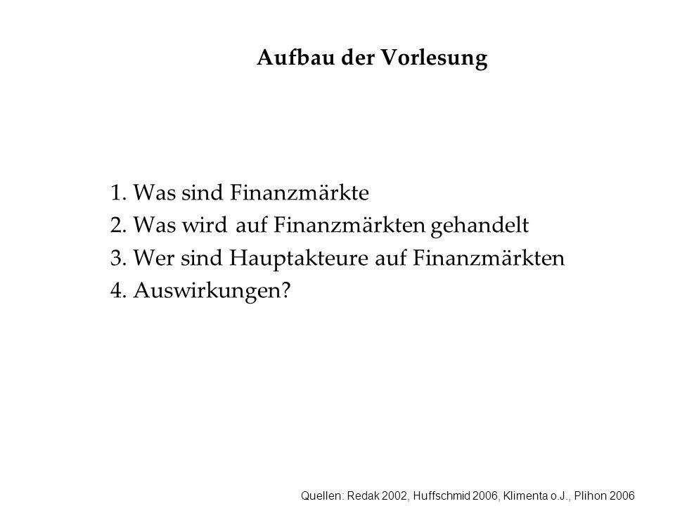 Quellen: Redak 2002, Huffschmid 2006, Klimenta o.J., Plihon 2006 Aufbau der Vorlesung 1. Was sind Finanzmärkte 2. Was wird auf Finanzmärkten gehandelt