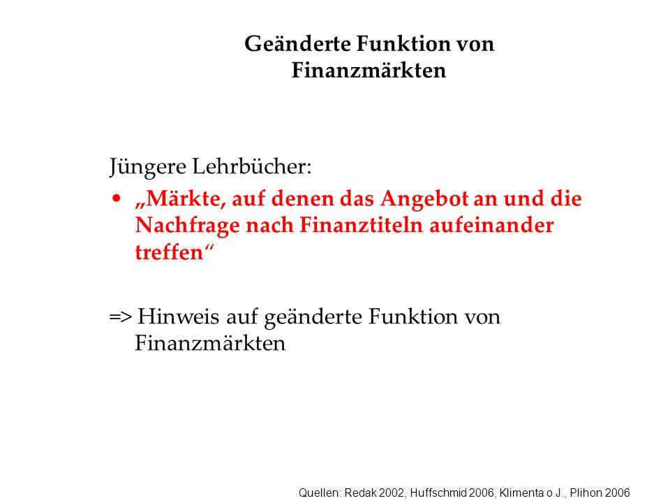 """Quellen: Redak 2002, Huffschmid 2006, Klimenta o.J., Plihon 2006 Geänderte Funktion von Finanzmärkten Jüngere Lehrbücher: """"Märkte, auf denen das Angeb"""