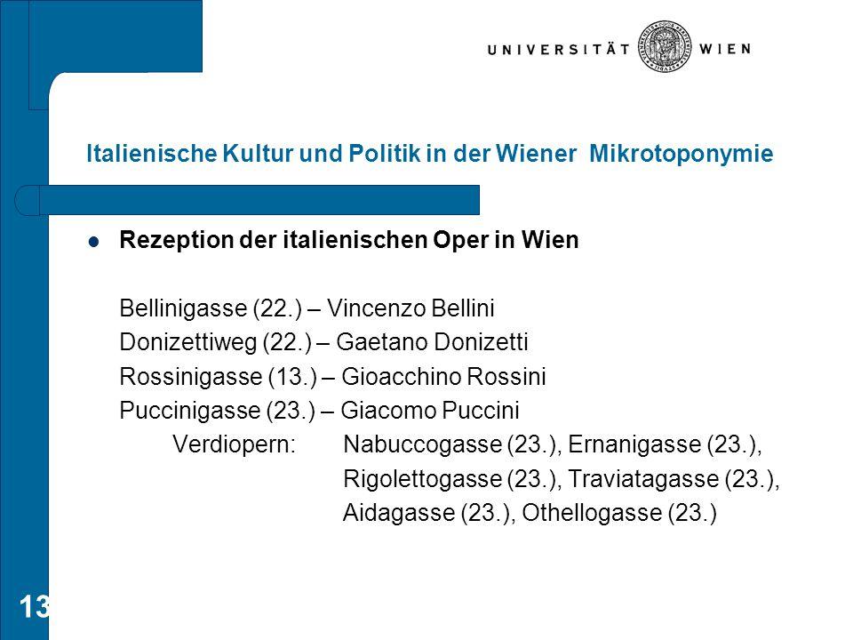 13 Italienische Kultur und Politik in der Wiener Mikrotoponymie Rezeption der italienischen Oper in Wien Bellinigasse (22.) – Vincenzo Bellini Donizet