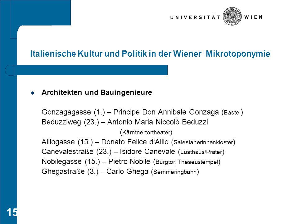 15 Italienische Kultur und Politik in der Wiener Mikrotoponymie Architekten und Bauingenieure Gonzagagasse (1.) – Principe Don Annibale Gonzaga ( Bast