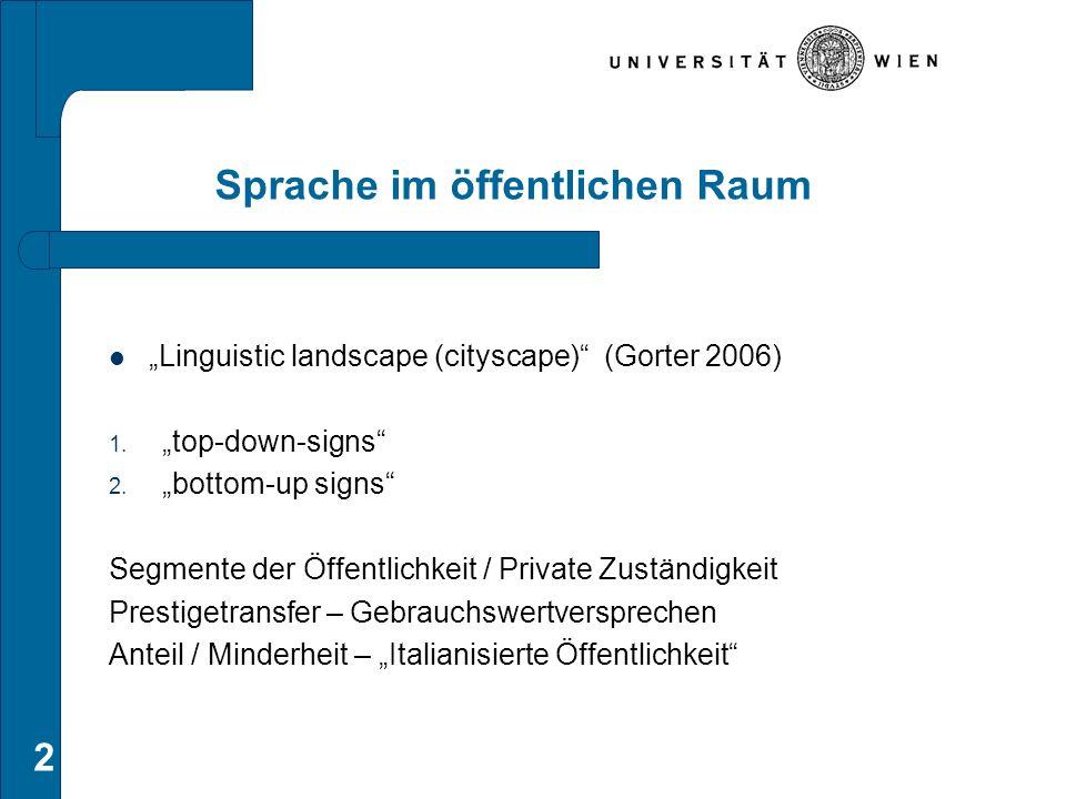 """Sprache im öffentlichen Raum """"Linguistic landscape (cityscape)"""" (Gorter 2006) 1. """"top-down-signs"""" 2. """"bottom-up signs"""" Segmente der Öffentlichkeit / P"""
