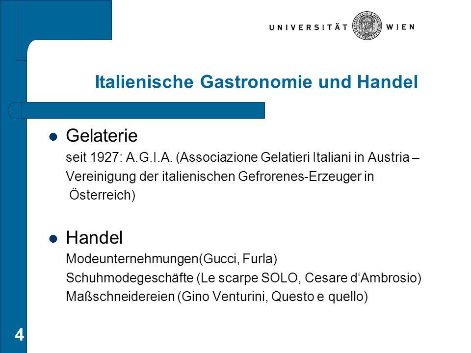 Italienische Gastronomie und Handel Gelaterie seit 1927: A.G.I.A. (Associazione Gelatieri Italiani in Austria – Vereinigung der italienischen Gefroren
