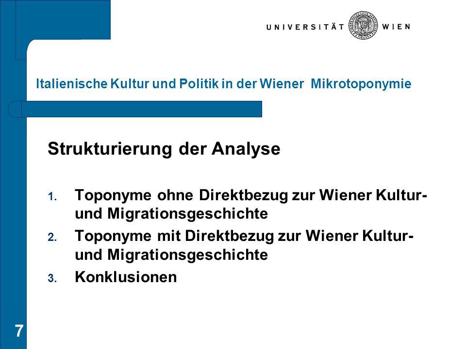 7 Italienische Kultur und Politik in der Wiener Mikrotoponymie Strukturierung der Analyse 1. Toponyme ohne Direktbezug zur Wiener Kultur- und Migratio