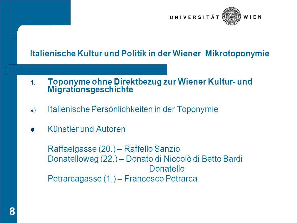 8 Italienische Kultur und Politik in der Wiener Mikrotoponymie 1. Toponyme ohne Direktbezug zur Wiener Kultur- und Migrationsgeschichte a) Italienisch