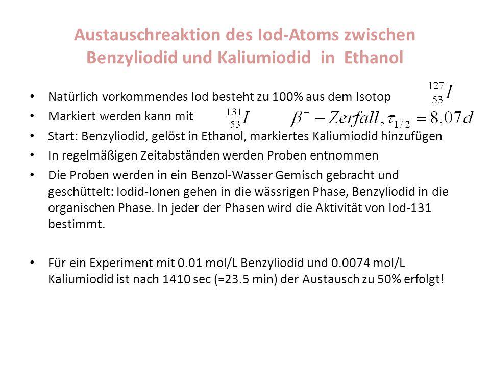 Austauschreaktion des Iod-Atoms zwischen Benzyliodid und Kaliumiodid in Ethanol Natürlich vorkommendes Iod besteht zu 100% aus dem Isotop Markiert wer