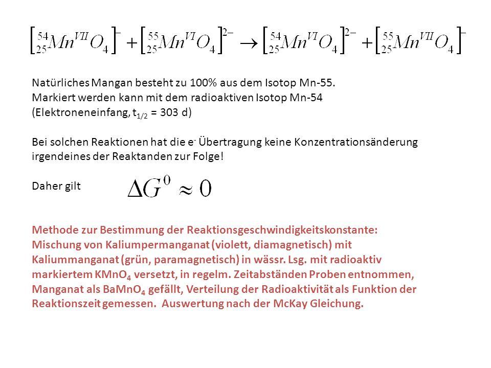 Natürliches Mangan besteht zu 100% aus dem Isotop Mn-55. Markiert werden kann mit dem radioaktiven Isotop Mn-54 (Elektroneneinfang, t 1/2 = 303 d) Bei