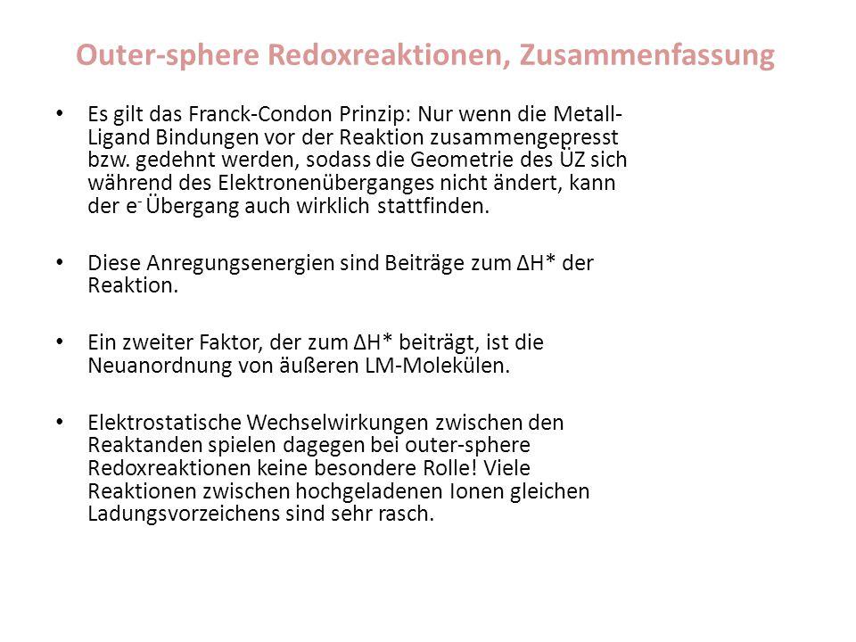 Outer-sphere Redoxreaktionen, Zusammenfassung Es gilt das Franck-Condon Prinzip: Nur wenn die Metall- Ligand Bindungen vor der Reaktion zusammengepres