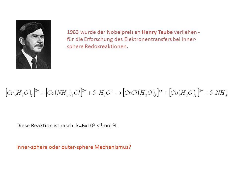 1983 wurde der Nobelpreis an Henry Taube verliehen - für die Erforschung des Elektronentransfers bei inner- sphere Redoxreaktionen. Diese Reaktion ist