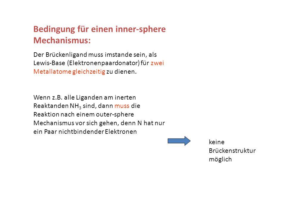 Bedingung für einen inner-sphere Mechanismus: Der Brückenligand muss imstande sein, als Lewis-Base (Elektronenpaardonator) für zwei Metallatome gleich
