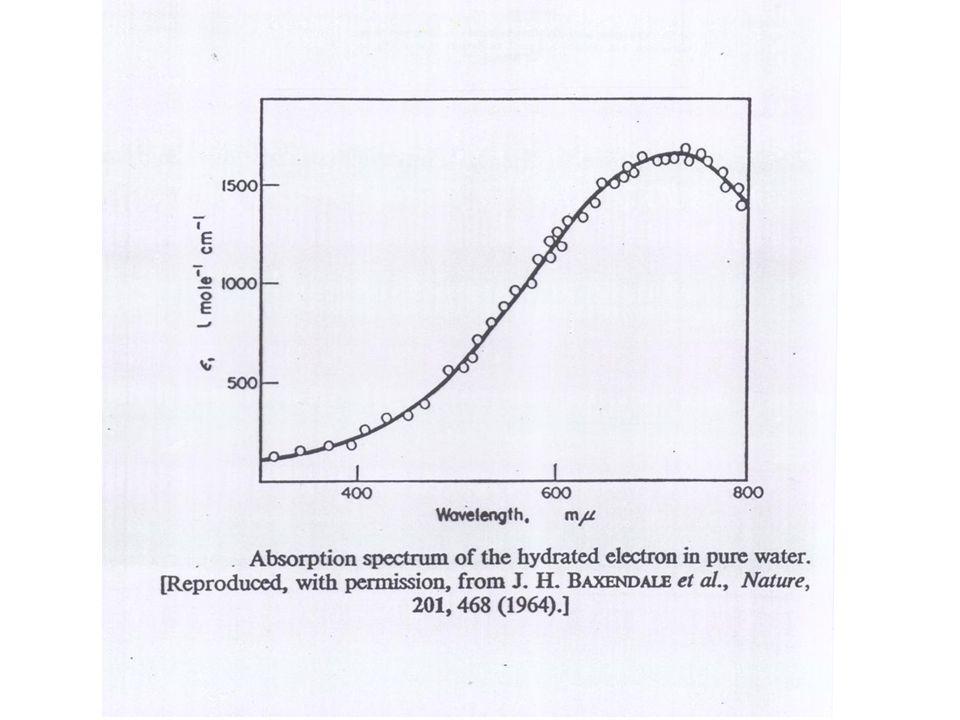 Reaktionen des solvatisierten Elektrons mit Metallionen Hat man in der bestrahlten Wasserprobe Metallionen, so verschwindet der 700 nm Peak des solvatisierten e - viel rascher als in reinem Wasser.