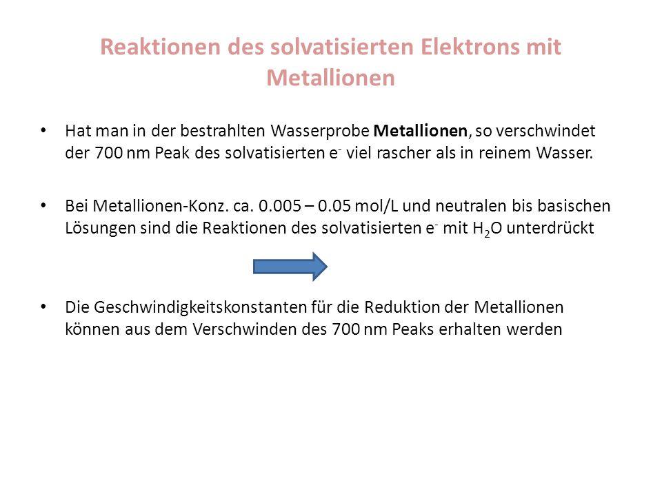 Reaktionen des solvatisierten Elektrons mit Metallionen Hat man in der bestrahlten Wasserprobe Metallionen, so verschwindet der 700 nm Peak des solvat