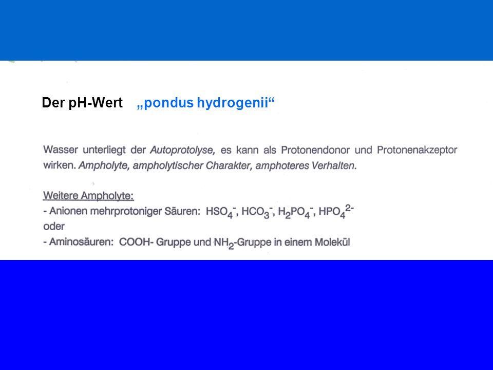 """Der pH-Wert """"pondus hydrogenii"""""""