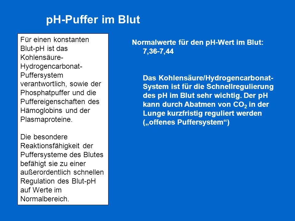 Normalwerte für den pH-Wert im Blut: 7,36-7,44 Das Kohlensäure/Hydrogencarbonat- System ist für die Schnellregulierung des pH im Blut sehr wichtig. De