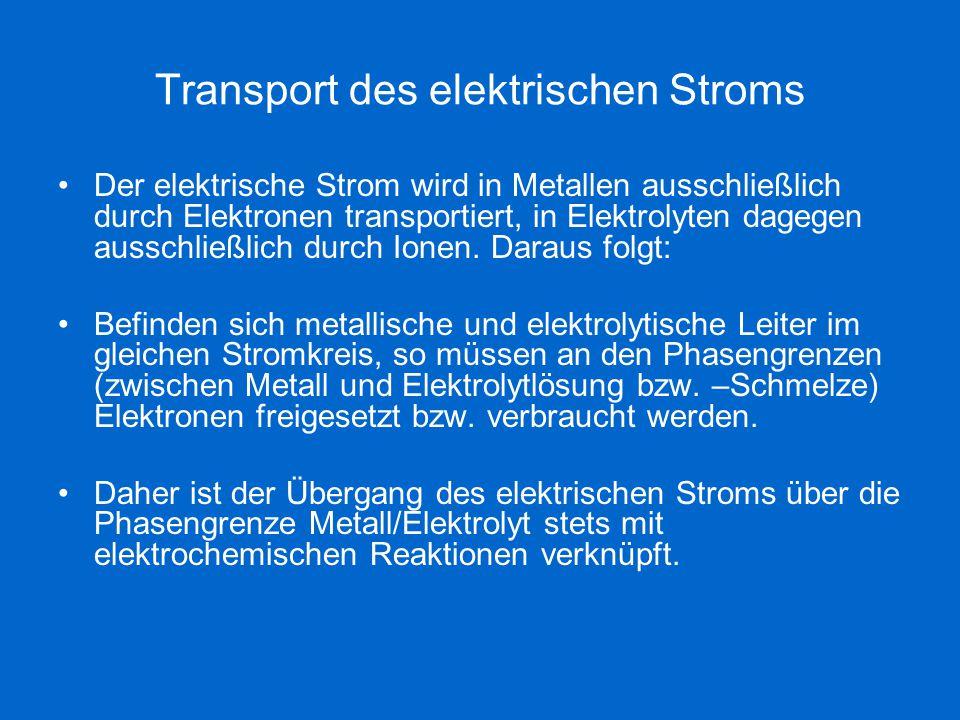 Transport des elektrischen Stroms Der elektrische Strom wird in Metallen ausschließlich durch Elektronen transportiert, in Elektrolyten dagegen aussch