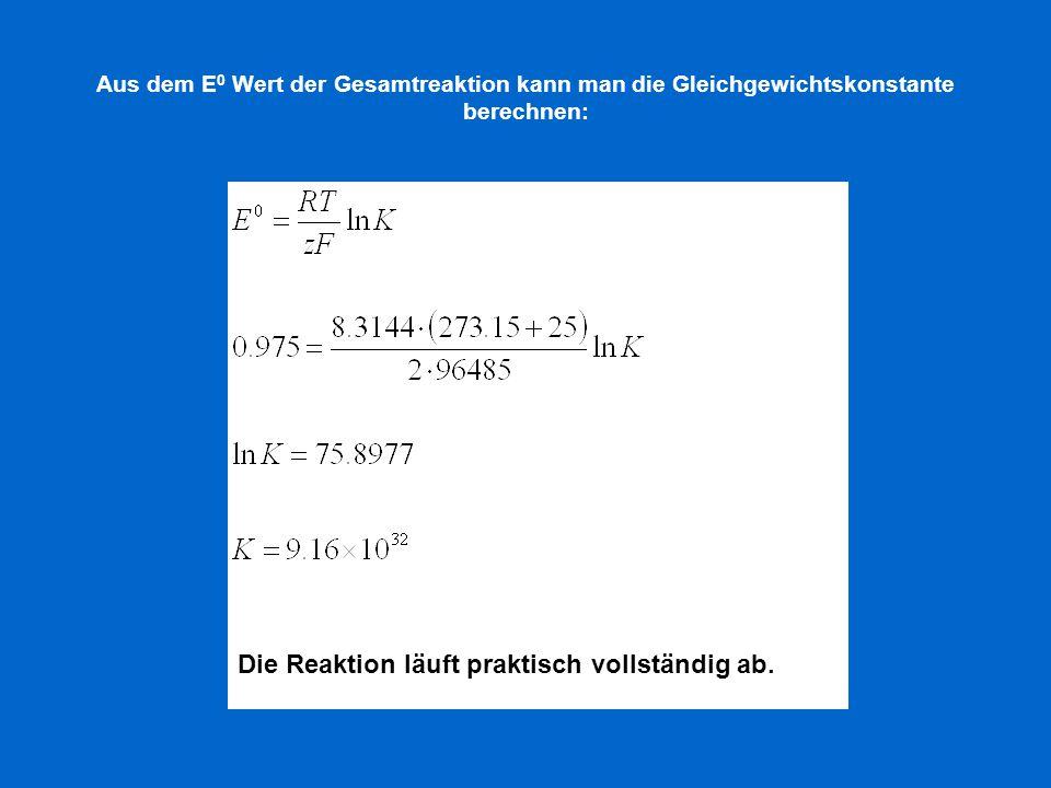 Aus dem E 0 Wert der Gesamtreaktion kann man die Gleichgewichtskonstante berechnen: Die Reaktion läuft praktisch vollständig ab.