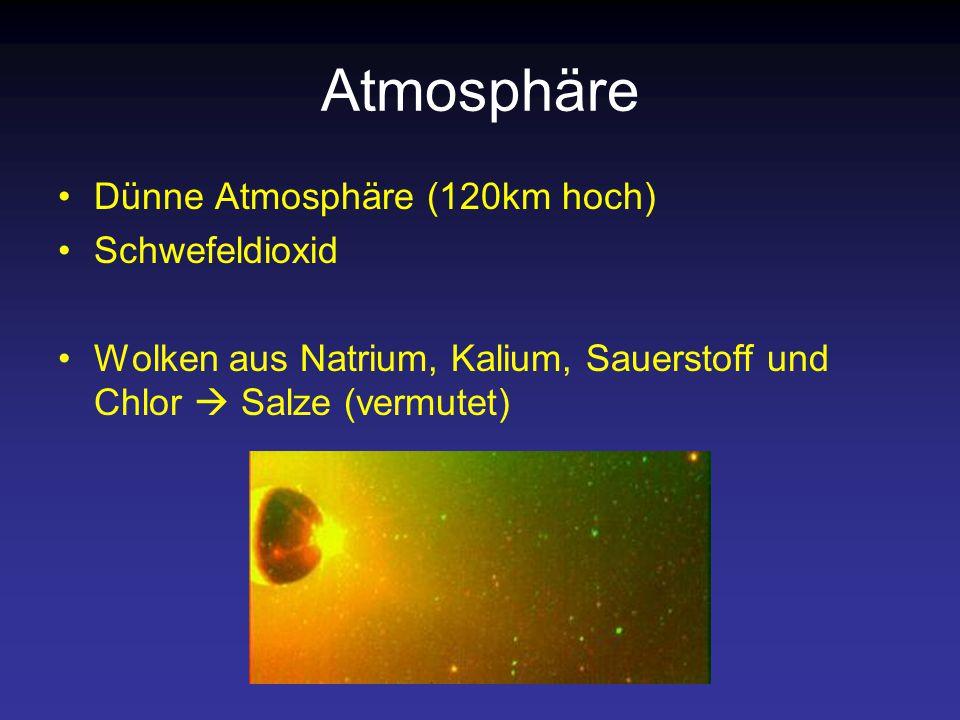 Atmosphäre Dünne Atmosphäre (120km hoch) Schwefeldioxid Wolken aus Natrium, Kalium, Sauerstoff und Chlor  Salze (vermutet)