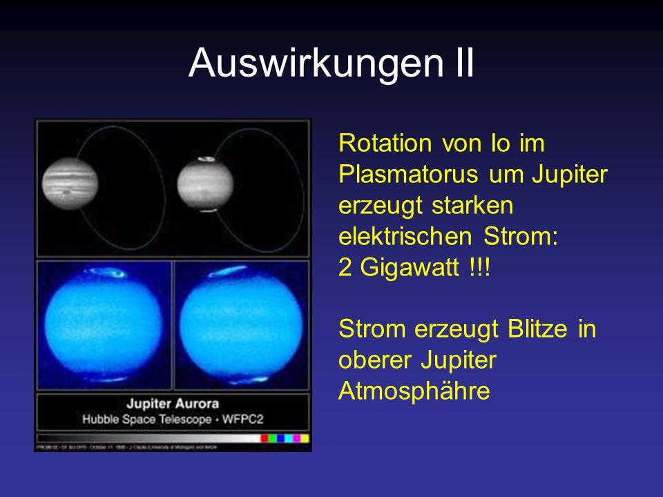 Auswirkungen II Rotation von Io im Plasmatorus um Jupiter erzeugt starken elektrischen Strom: 2 Gigawatt !!.