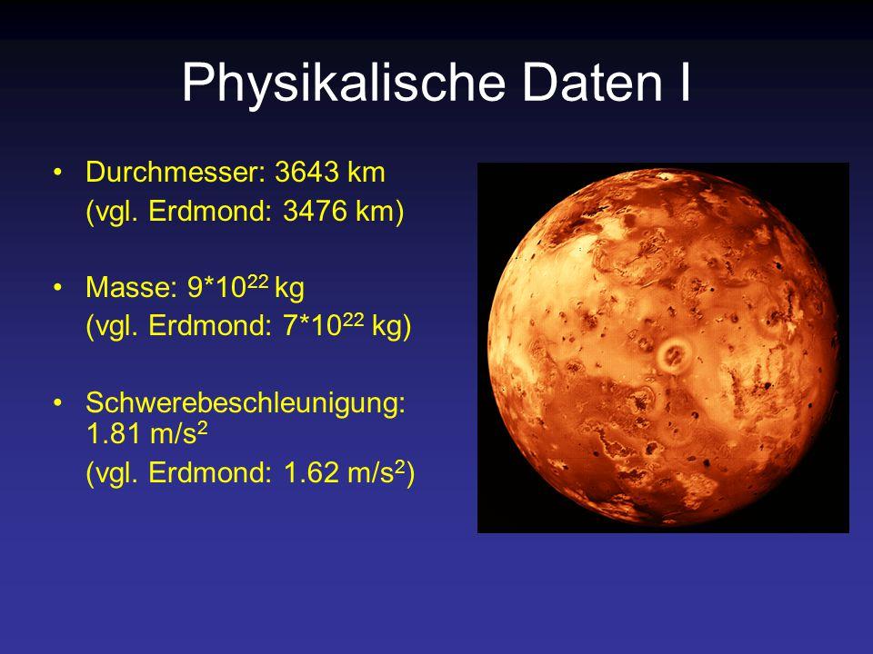 Physikalische Daten I Durchmesser: 3643 km (vgl.Erdmond: 3476 km) Masse: 9*10 22 kg (vgl.