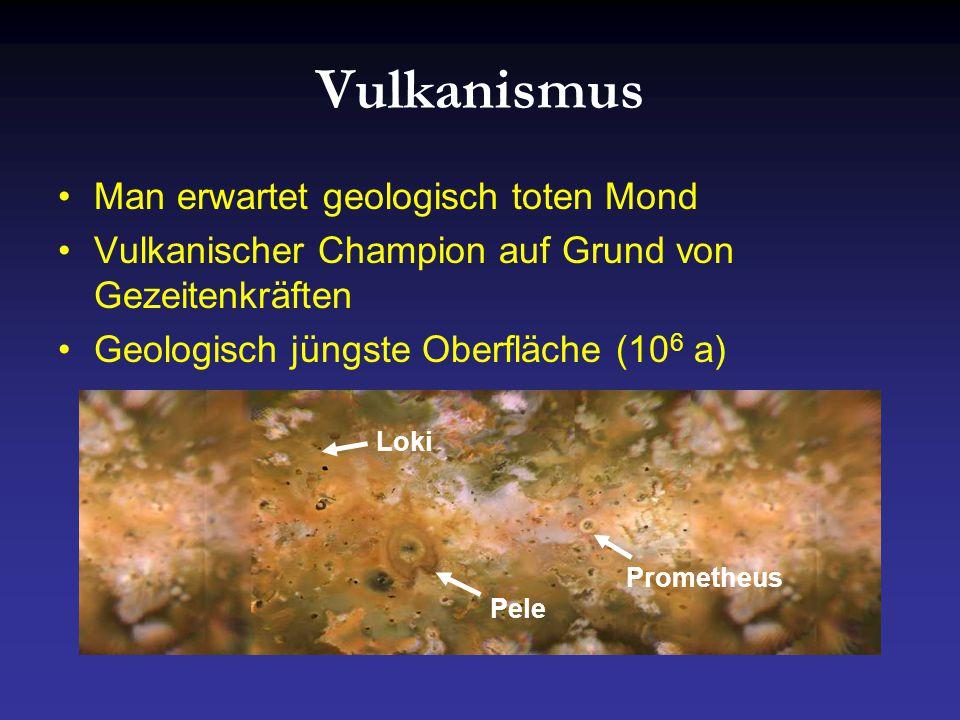 Vulkanismus Man erwartet geologisch toten Mond Vulkanischer Champion auf Grund von Gezeitenkräften Geologisch jüngste Oberfläche (10 6 a) Pele Loki Prometheus