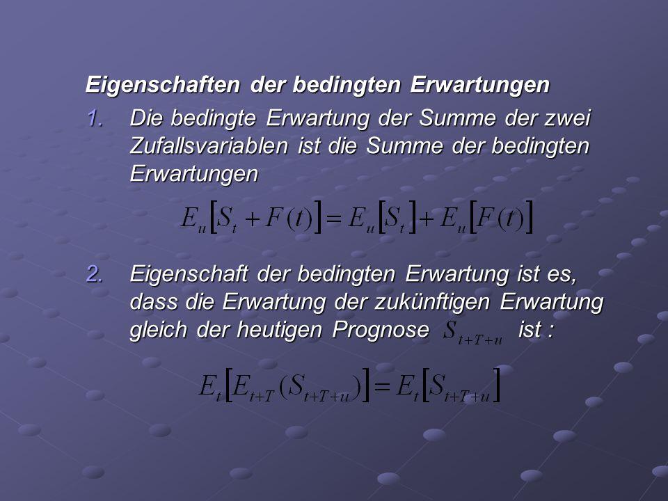 Eigenschaften der bedingten Erwartungen 1.Die bedingte Erwartung der Summe der zwei Zufallsvariablen ist die Summe der bedingten Erwartungen 2.Eigensc