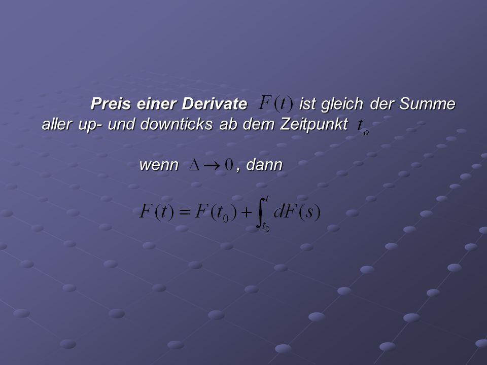 Preis einer Derivate ist gleich der Summe aller up- und downticks ab dem Zeitpunkt wenn, dann