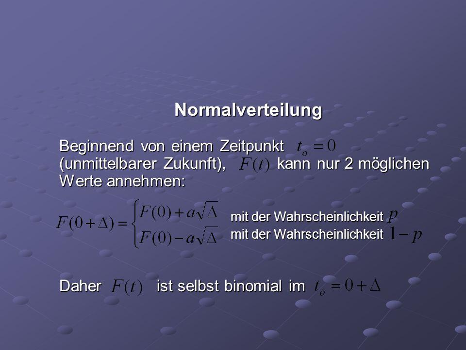 Normalverteilung Beginnend von einem Zeitpunkt (unmittelbarer Zukunft), kann nur 2 möglichen Werte annehmen: mit der Wahrscheinlichkeit mit der Wahrsc