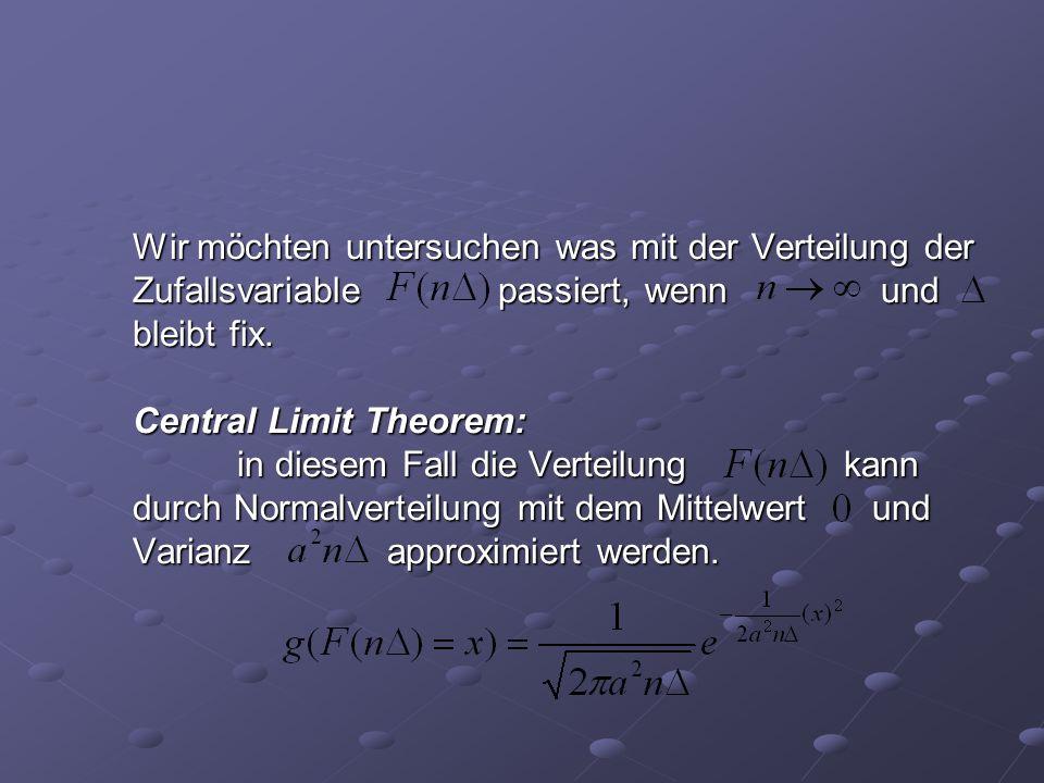 Wir möchten untersuchen was mit der Verteilung der Zufallsvariable passiert, wenn und bleibt fix. Central Limit Theorem: in diesem Fall die Verteilung