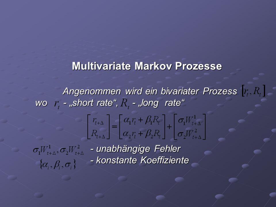 """Multivariate Markov Prozesse Angenommen wird ein bivariater Prozess wo - """"short rate"""", - """"long rate"""" - unabhängige Fehler - konstante Koeffiziente"""