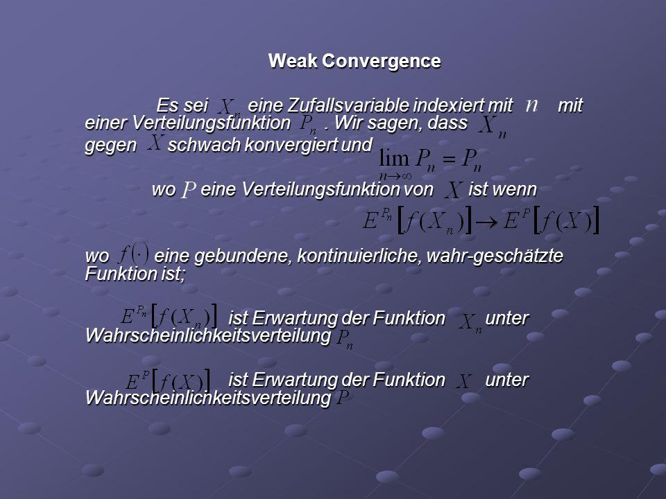 Weak Convergence Es sei eine Zufallsvariable indexiert mit mit einer Verteilungsfunktion. Wir sagen, dass Es sei eine Zufallsvariable indexiert mit mi
