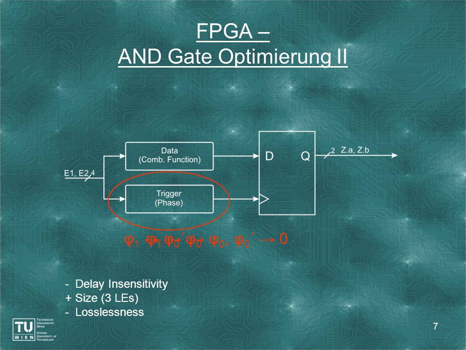 7 FPGA – AND Gate Optimierung II - Delay Insensitivity + Size (3 LEs) - Losslessness φ 1 → φ 0 ´ → φ 0, φ 0 ´ → 0φ 1 → φ 0