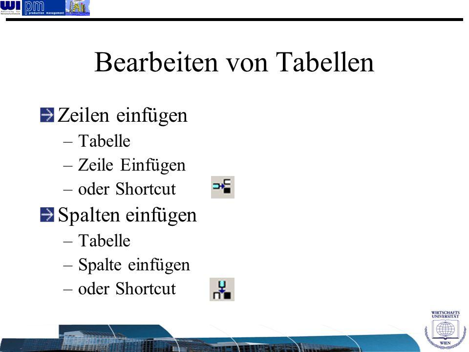 Bearbeiten von Tabellen Zeilen einfügen –Tabelle –Zeile Einfügen –oder Shortcut Spalten einfügen –Tabelle –Spalte einfügen –oder Shortcut