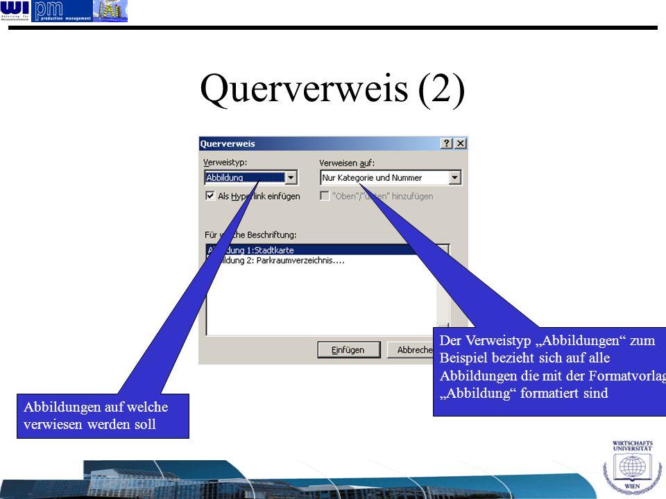 """Querverweis (2) Der Verweistyp """"Abbildungen"""" zum Beispiel bezieht sich auf alle Abbildungen die mit der Formatvorlage """"Abbildung"""" formatiert sind Abbi"""