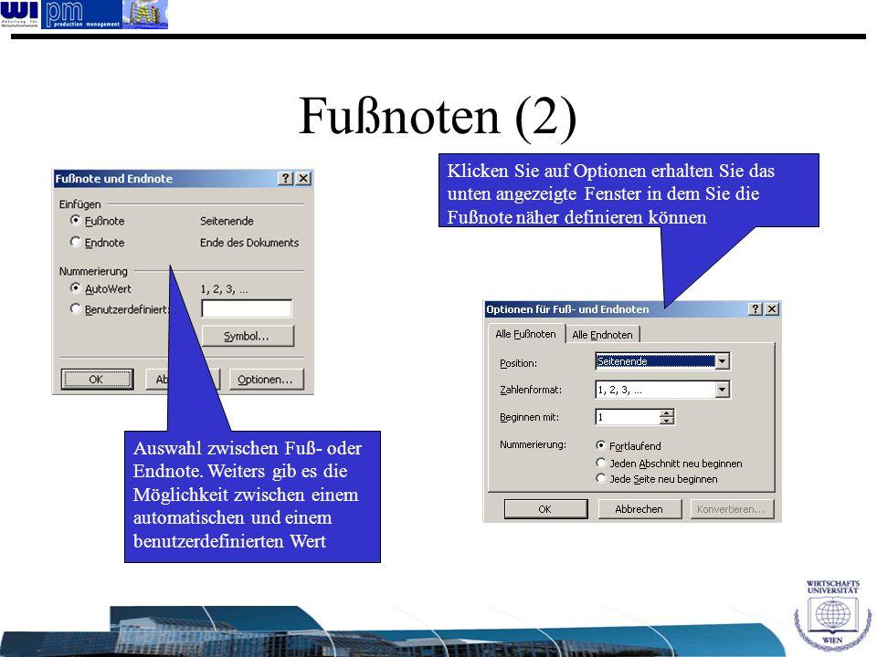 Fußnoten (2) Auswahl zwischen Fuß- oder Endnote. Weiters gib es die Möglichkeit zwischen einem automatischen und einem benutzerdefinierten Wert Klicke