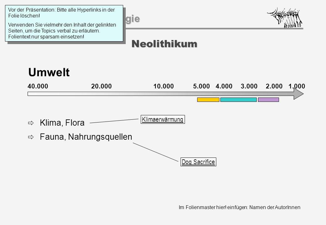 Im Folienmaster hier! einfügen: Namen der AutorInnen Geschichtspsychologie Neolithikum Umwelt 40.000 20.000 1.000 10.0005.000 4.0003.0002.000  Klima,