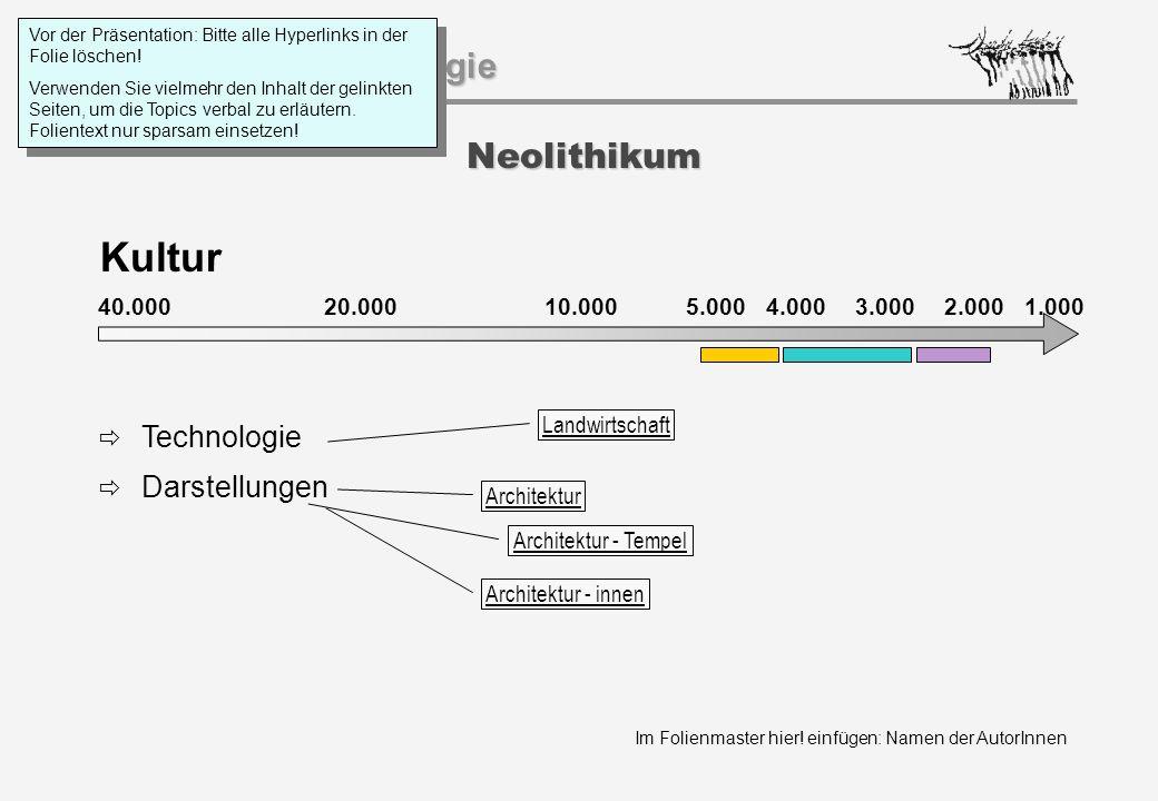 Im Folienmaster hier! einfügen: Namen der AutorInnen Geschichtspsychologie Neolithikum Kultur 40.000 20.000 1.000 10.0005.000 4.0003.0002.000  Techno