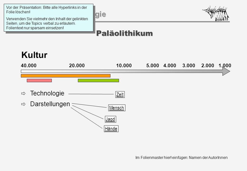 Im Folienmaster hier! einfügen: Namen der AutorInnen Geschichtspsychologie Paläolithikum Kultur 40.000 20.000 1.000 10.0005.000 4.0003.0002.000  Tech