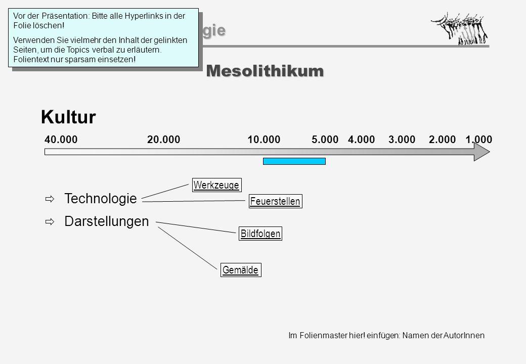 Im Folienmaster hier! einfügen: Namen der AutorInnen Geschichtspsychologie Mesolithikum Kultur 40.000 20.000 1.000 10.0005.000 4.0003.0002.000  Techn